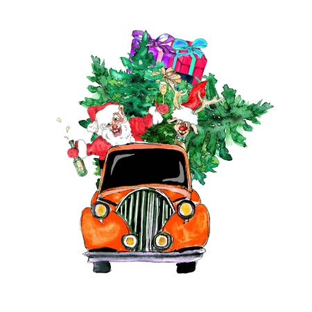 holiday Poster Christmas Watercolor hand drawn artistic colorful vintage Santa in car with pine tree and gift boxes greeting card Фото со стока