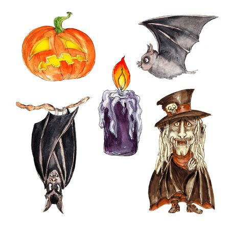 Watercolor hand drawn artistic colorful retro spooky Halloween icons set  isolated on white background