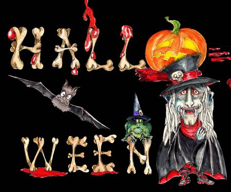 Watercolor hand drawn artistic colorful retro spooky Halloween greeting card poster with bones text on black