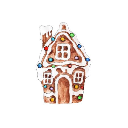 Christmas Gingerbread cookies  icon  watercolor  hand drawn artistic vintage ornament decoration object isolated on white