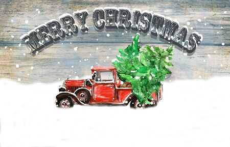 Watercolor hand drawn artistic colorful retro vintage car with Christmas tree isolated on wooden  background Stock Photo - 133338486