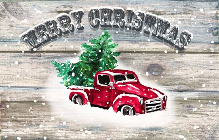 Watercolor hand drawn artistic colorful retro vintage car with Christmas tree isolated on wooden  background