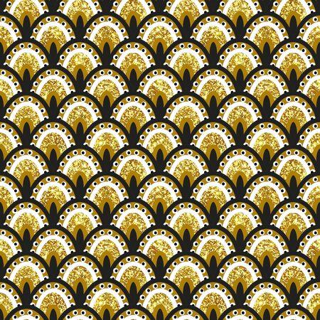 Peacock feather Fish scale  glitter snake skin sparkling seamless pattern Archivio Fotografico - 134926608
