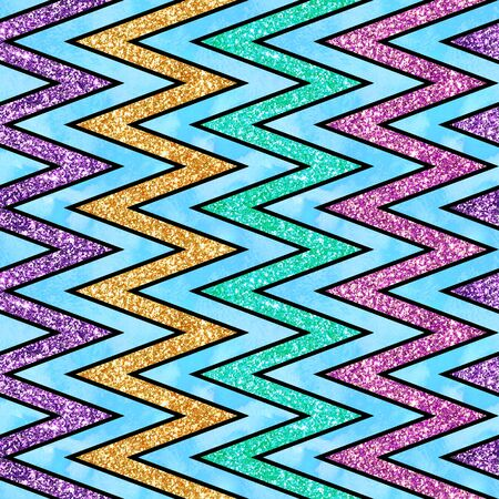 Holiday Glitter hand drawn artistic chevron geometrical  sparkling seamless background