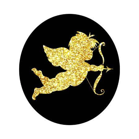 Glitter cute baby cupid with arrow icon isolated on black background