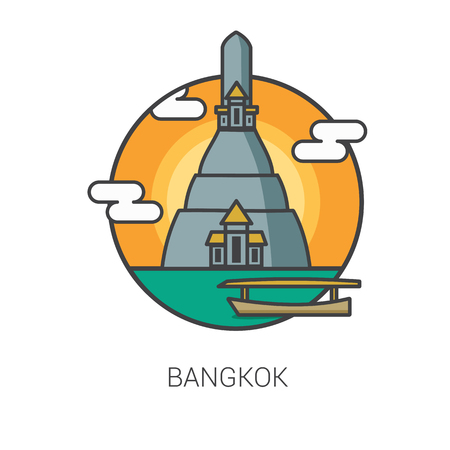 wat arun: travel thailand. wat arun bangkok icon vector. Illustration