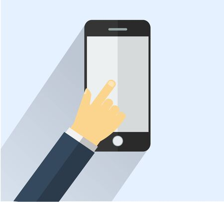 smart phone: Hand touching smart phone