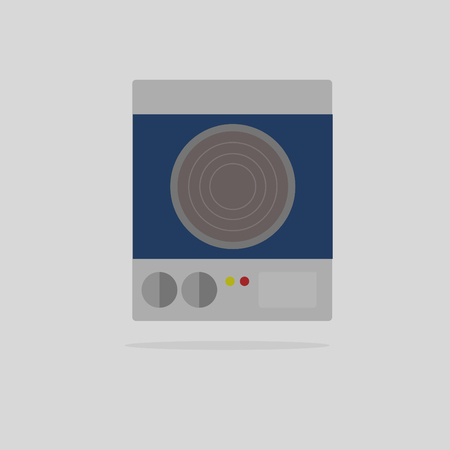 stove top: kitchen tools,Electric stove flat design vector.