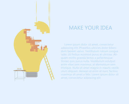 inventions: Building lamp. Inspiration create idea concept. Illustration