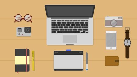 Set of Flat vector design illustration of modern business office and workspace. Top view of desk background with laptop,notebook and pen,action camera,digital drawing tablet,glasses,digital device. Illustration