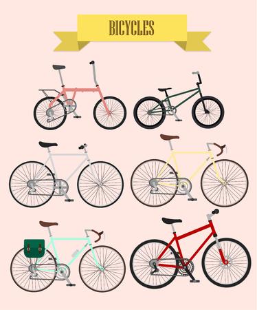 pedaling: bicycles vector set