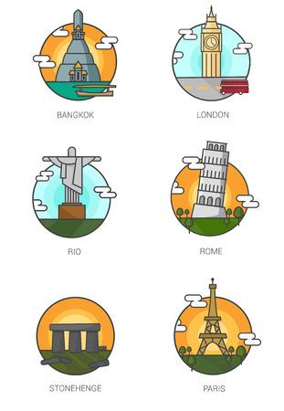 bigben: World Landmarks.stonehenge,Pisa,rio de janeiro,eiffel tower,Bigben,wat arun vector.