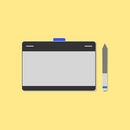 pen tablet: digital drawing table,mouse pen ,tablet drawing flat design vector