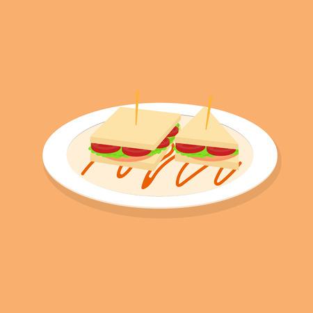 ham sandwich: sandwich breakfast on dish