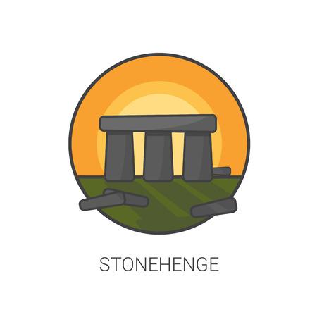 stonehenge: stonehenge flat design icon vector.