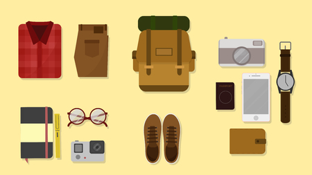 lay: travel plan concept flat lay vector,top view flat design.