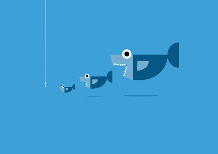 big fish: big fish eat little fish and hook.Organize and business Concept.