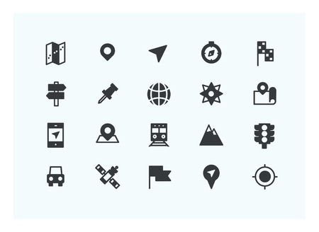 latitude: navigator icon set vector. Silhouette icons. Illustration