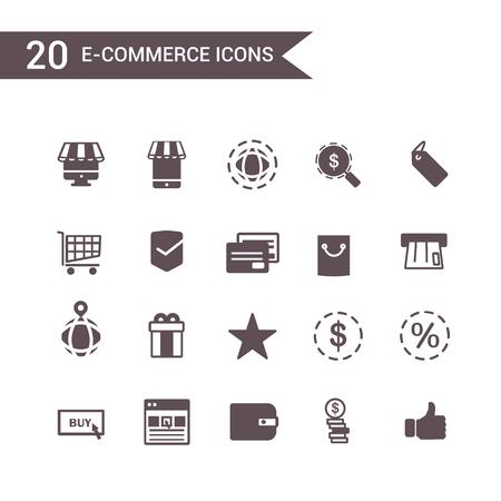 e commerce icon: e commerce icon set vector. Silhouette icons.