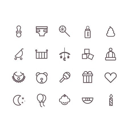 cute baby girls: baby icon set vector.line icons.