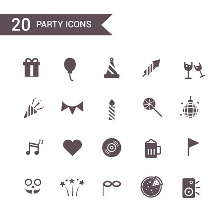 new year party: party new year icon set vector.Silhouette icons. Illustration