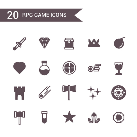 game rpg icon set vector. Silhouette icons. 向量圖像