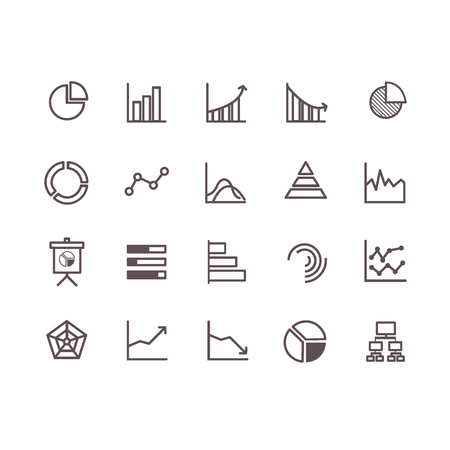 graph icon set vector. line icons.