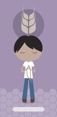 Communion card with Amerindian boy on violet background. Stock Photo
