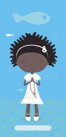 蓝色背景的非洲女孩的圣餐卡。