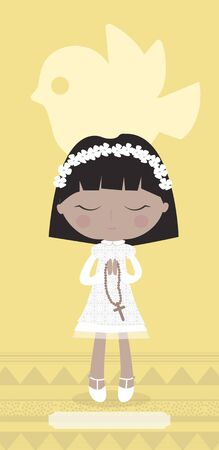 Communion card with Amerindian girl on yellow background.