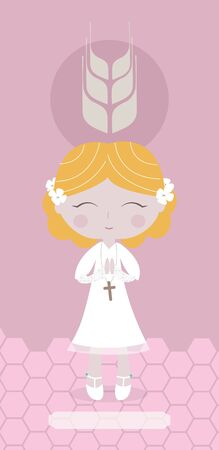 blond: Communion card with European blond girl on pink background.
