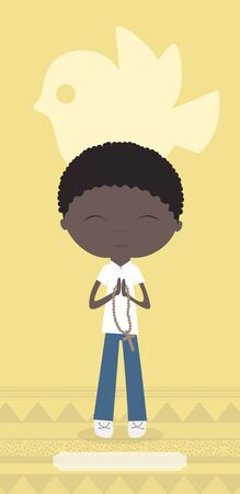 african boy: Communion card with African boy on yellow background.