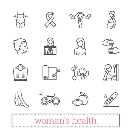 Womans health thin line icons. Medicine, womens beauty, active lifestyle, healthy diet, breast cancer awareness symbols. Modern vector design elements. Isolated on white. Stock Illustratie