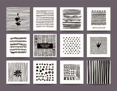 Creative black and white collection of hand drawn tribal textures, paint dabs and abstract stains. Suitable for artistic poster, flyer, invitation, banner, business and greeting card templates. Vector set.