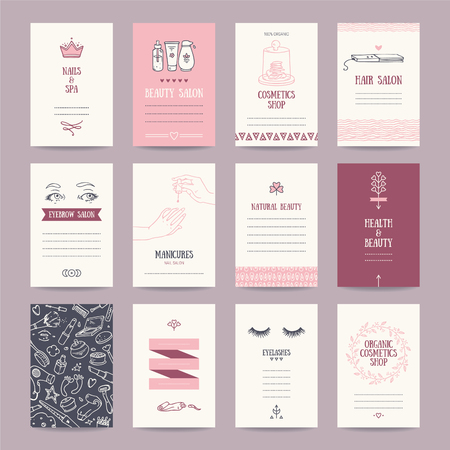 Cosmetics shop business cards, beauty salon invitations, spa, makeup artist ad. Artistic templates collection with thin line symbols and hand drawn design elements. Isolated vector set. Illustration