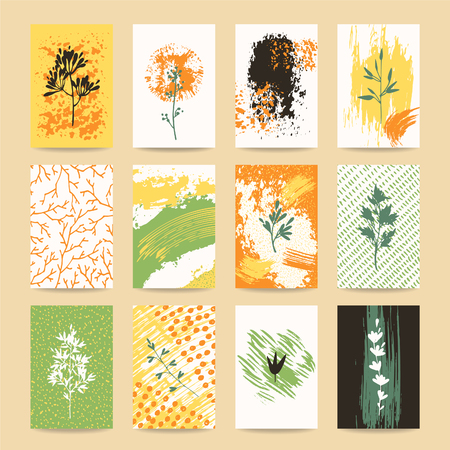 Autumn colorful invitation, greeting card, fall flyer, banner, poster templates. Hand drawn collection with design elements: brushstrokes, plants, tree branches silhouettes. Isolated vector set. Illustration