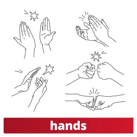 Gestos con las manos iconos de líneas finas. Aplausos, golpe de puño, cinco signos de estilo lineal. Lenguaje corporal, señales de comunicación no verbal.