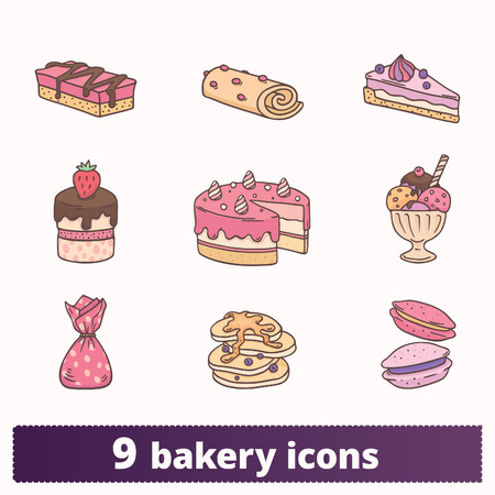 Bakery, pastry and sweets colorful icons. Vector set of birthday cake, cupcake, ice cream, pancakes and candy signs. Hand drawn linear style flat illustrations isolated on white background. Фото со стока