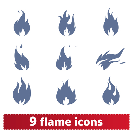 Fire flames icons vector set. Simple illustration of abstract burning fire. Danger concept symbols. Isolated on white background. Ilustração