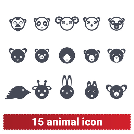 Animal heads vector icons. Vector set of cute cartoon style illustrations of zoo, wildlife and domestic pets. Isolated on white background.