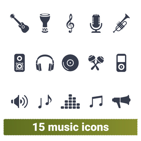 Music vector icons. Vector collection of musical instruments, music player, multimedia symbols. Isolated on white background.