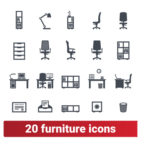 Furniture and accessories icons. Office furnishing, private workplace and workspace illustrations. Vector collection isolated on white background. Vettoriali