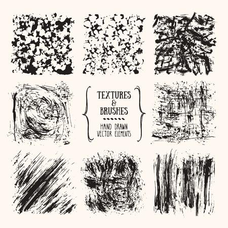 Textures dessinées à la main, coups de pinceau. Collection artistique d'éléments artisanaux, lignes de gribouillis, touches de peinture, éclaboussures d'encre, motif abstrait, fond grunge pour flyer, invitation, modèles d'affiches.