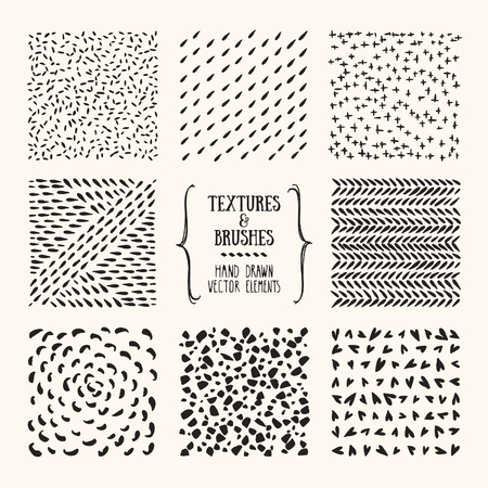 Hand drawn textures and brushes. Artistic collection of handcrafted design elements: rough graphic patterns, floral ornaments, abstract lines, tribal symbols made with ink. Isolated vector set.