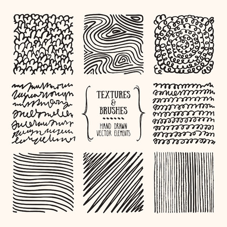 Hand drawn textures and brush strokes. Artistic collection of handcrafted design elements. Natural graphic patterns, wavy line textures, paint dabs, abstract backgrounds for flyer, poster templates.