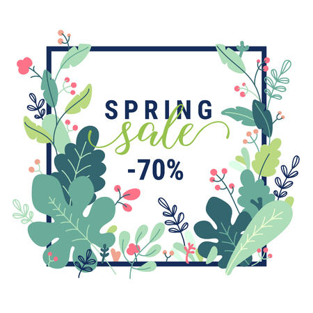 Spring promotion offer banner. Beautiful colorful flat style vector illustration with branches, leaves, plants, flowers. Design template with Spring sale text lettering isolated on white background.