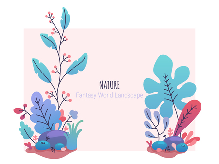 Floral design template with fantasy colorful flat style botanical illustration. Fantastic stylized plants, bushes, flowers. Vector design for banner, poster, website, congratulation card, invitation. Иллюстрация