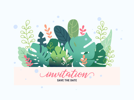 Fantasy floral frame invitation card with fantastic leaves and plants. Colorful flat style vector illustration. Graphic design template for flyer, banner, poster, website, postcard, wedding invitation