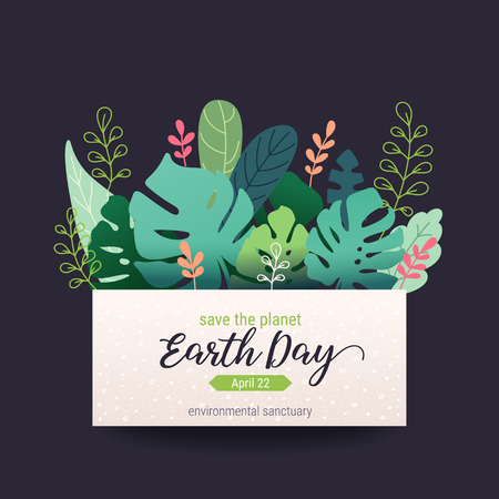 Earth day banner, card design template. Vivid colorful flat style vector illustration with flower blossoms, plants, leaves. Floral composition with Happy Earth day lettering isolated on background. Illustration
