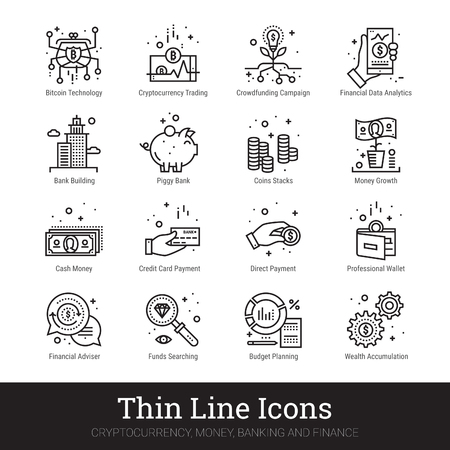 Money, finance and cryptocurrency thin line icons. Modern linear logo concept for web and mobile application. Money making, saving, banking, financial service pictogram. Line icons vector collection.